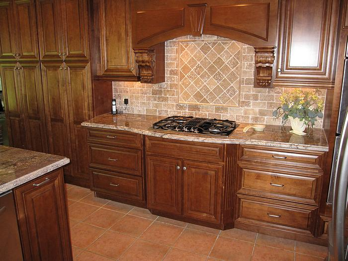 Captivating Fancy Picasso Tumbled Travertine Backsplash Around Grand Article